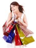Girl holding group shopping bag. Stock Photo
