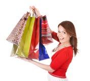 Girl holding group shopping bag. Stock Image