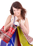 Girl holding group shopping bag. Royalty Free Stock Photography