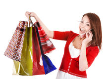 Girl holding group shopping bag. Stock Photography