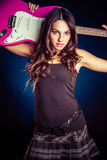 Girl Holding Guitar royalty free stock photos