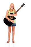 Girl holding guitar Royalty Free Stock Photography