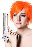 Girl holding gun Royalty Free Stock Photos