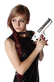 Girl holding gun Stock Images