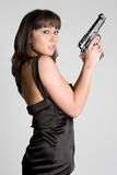Girl Holding Gun royalty free stock photo