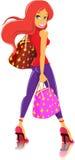 Girl holding a handbag. Cute girl on white background Stock Photo