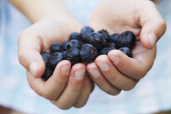 Girl Holding Handful Of Blueberries Royalty Free Stock Photos