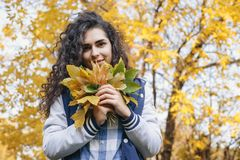 Girl holding in hands bunch of leaves stock photo