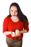 Girl holding hands and Easter eggs Royalty Free Stock Image