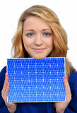 Girl holding in hands solar panel. Isolated on white background Royalty Free Stock Images