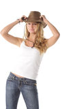 Girl holding hat bream Royalty Free Stock Photo