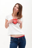 Girl holding heart Stock Image