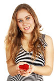 Girl holding a heart Stock Photos