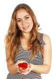 Girl holding a heart Stock Photos