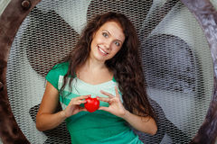 Girl holding a heart Royalty Free Stock Photo