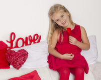 Girl in a holding a heart Royalty Free Stock Photos
