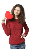 Girl holding heart shape Stock Image