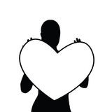 Girl holding heart silhouette illustration. In black Royalty Free Stock Photo