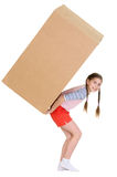 Girl holding heavy cardboard box. Girl holding very heavy brown cardboard box on the white Royalty Free Stock Image