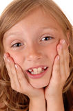 Girl holding her face. Stock Photo