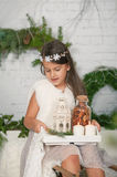 Girl holding in her hands a tray Christmas decoration stock photos
