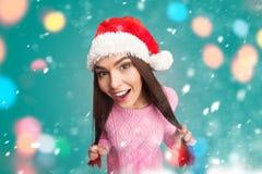 Girl holding her long hair Stock Image