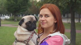 Girl holding her pug and smiling at camera stock footage