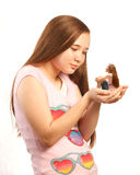 Girl holding herself in her hands Stock Photography