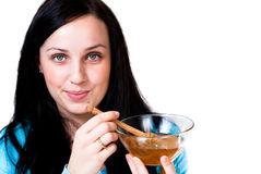 Girl holding honey bowl Royalty Free Stock Photography