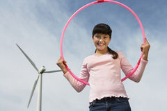 Girl Holding Hula Hoop Royalty Free Stock Photo