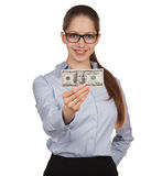Girl holding a hundred dollar bill Royalty Free Stock Photo