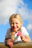 Girl holding ice-cream Royalty Free Stock Photography