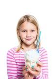 Girl holding ice cream dessert Stock Images