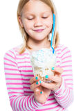 Girl holding ice cream dessert Royalty Free Stock Photography