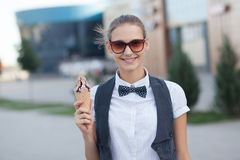 Girl holding ice cream stock photos