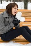 Girl holding an ice heart Royalty Free Stock Photo