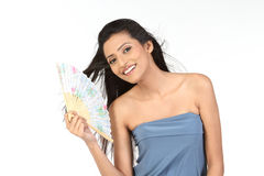 Girl holding japanese fan Stock Photos