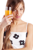 Girl holding juice Stock Images