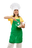 Girl holding kitchenware Stock Photography