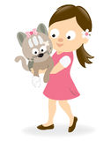 Girl holding a kitten with bandaged paw. Illustration of a girl carrying a cat with bandaged paw Stock Photos