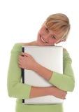 Girl holding laptop Stock Photos