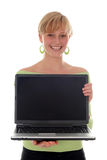 Girl holding laptop Royalty Free Stock Photo