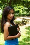Girl holding laptop Royalty Free Stock Image