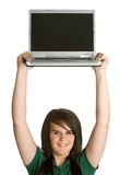 Girl Holding Laptop. Above head Stock Image