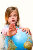 Girl holding large globe Stock Images