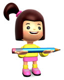 Girl holding a large pencil with both hands Stock Photos