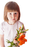 Girl holding lily Royalty Free Stock Photo