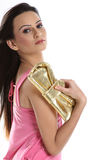 Girl holding little purse Royalty Free Stock Images