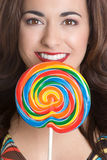 Girl Holding Lollipop Royalty Free Stock Images