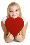 Girl Holding Love Heart. Pretty girl holding love heart Royalty Free Stock Photography